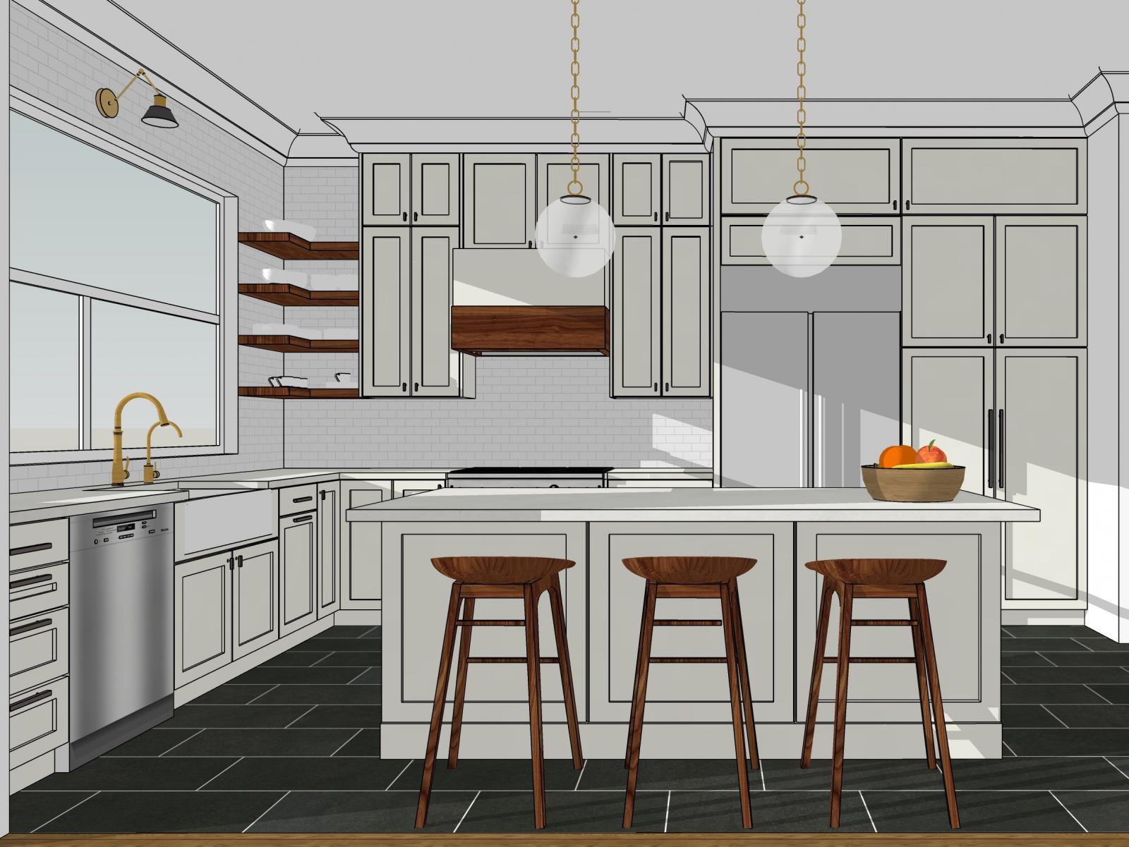 Clean, bright kitchen modeled in SketchUp