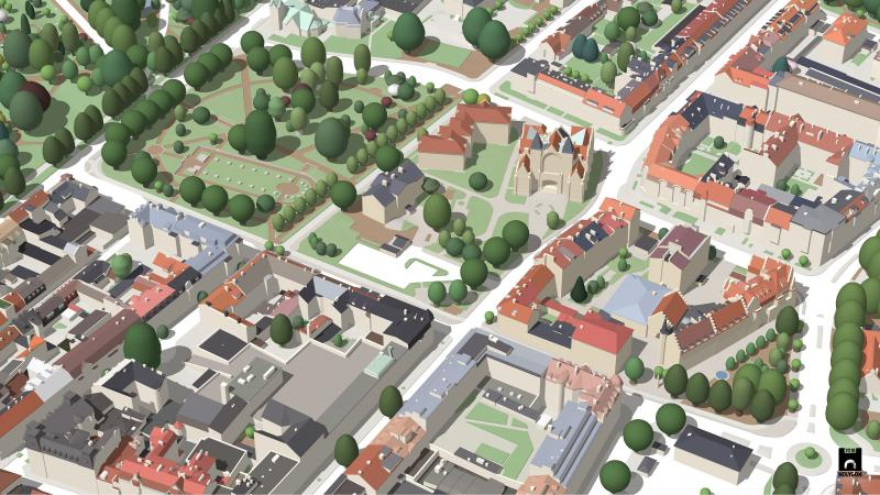 A visualization of Landskrona modeled in SketchUp.